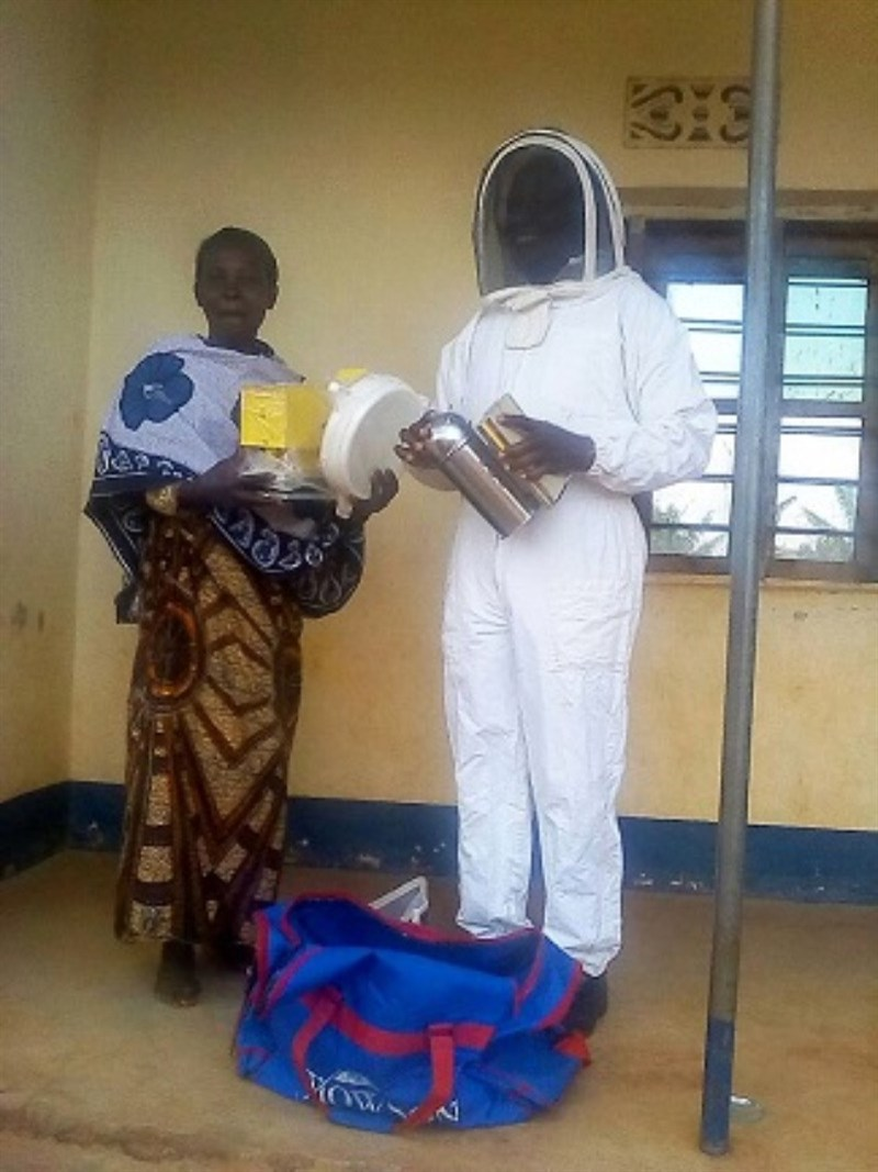 Beekeeping suit being worn